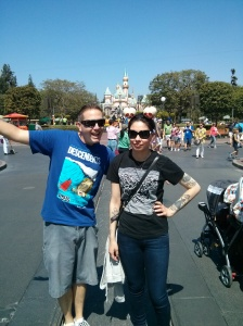 Me and my friend Peter at Disneyland. I'm actually thrilled, I promise.