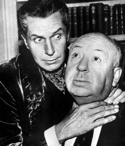 Aw, Vincent Price and Alfred Hitchcock in a sweet embrace.