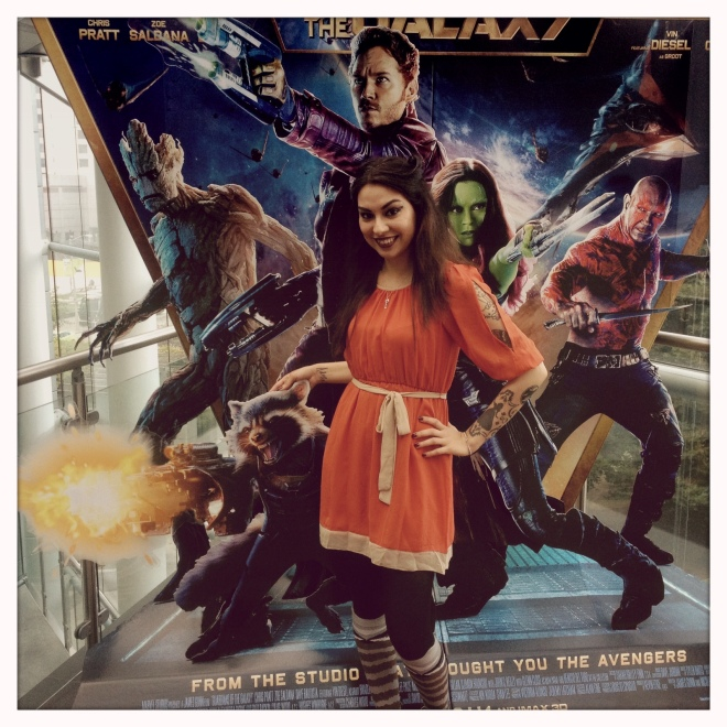 My Rocket inspired outfit I wore to the opening day of Guardians of the Galaxy.